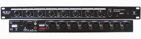 Rolls RM83T 8 Channel Transbalanced Mic Mixer in a Single Rack Space