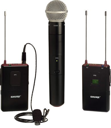 Shure FP125 Lavalier/SM58 Handheld Combo Wireless Mic System - 494-518MHz