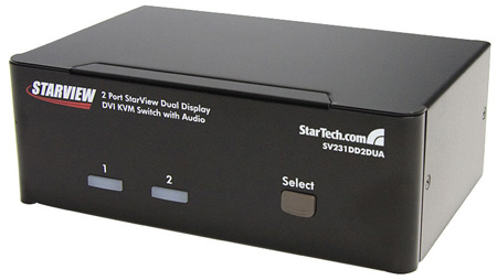 StarTech SV231DD2DUA 2 Port Dual DVI USB KVM Switch with Audio & USB 2.0 Hub