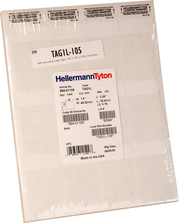 HellermannTyton Self Laminating Laser Tags  1.9in x .75in x 3.25in 1000 Pack