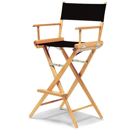 Tall Directors Chair - Natural Frame / Burgundy Canvas