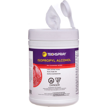 Techspray 1610-100DSP Isopropyl Alcohol Pre-Saturated Wipes 100 Count