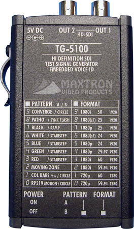 Maxtron Multi-Format HD-SDI Pattern Generator with Voice ID and Battery Option