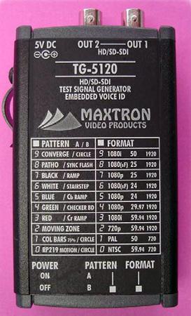 Maxtron TG-5120B SD/HD-SDI Pattern Generator with Li-ion Battery Pack