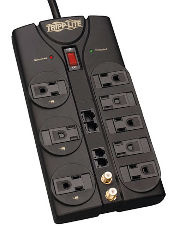Tripplite TLP810NET 8-Outlet 3240 Joules Surge Suppressor w/10ft Cord