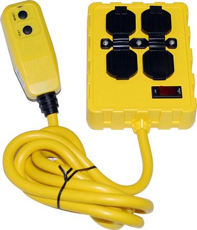 Gfci Quad Outlet Box 125v 15a 12 3 Sjtw W Circuit Breaker 6 Ft Cord