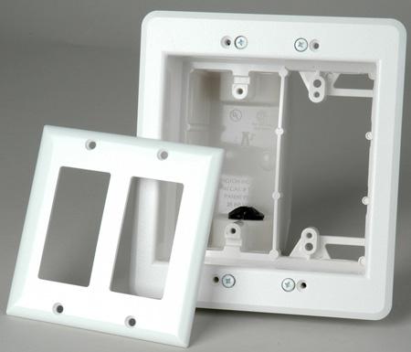 Arlington TVBU505 Recessed Two-gang TV Box White