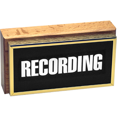 Vertical Studio Warning Light - Recording in Gold Lettering