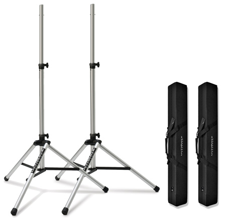 2Ea TS-80T 3.5Ft-6Ft 7In Silver Speaker Stands w/2Ea BAG90 Black Bags