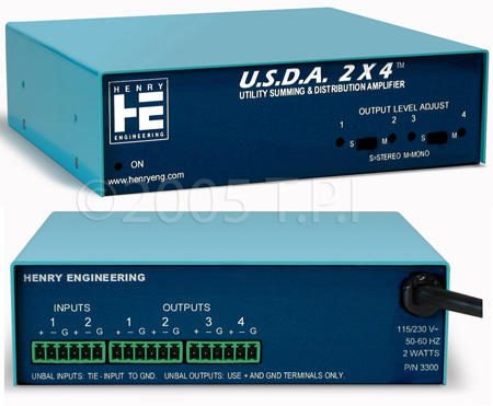 Henry Engineering USDA 2X4 Utility Summing & Distribution Amplifier