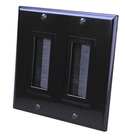 Vanco 120828X 2-Gang Decor Style Brush Bulk Cable Wall Plate Black