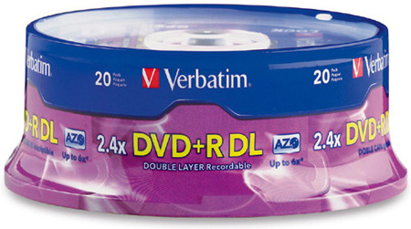 Verbatim 95310 DVD-R DL Dual Layer 8.5 Gig 2.4x Recordable DVD Discs 20 Spindle