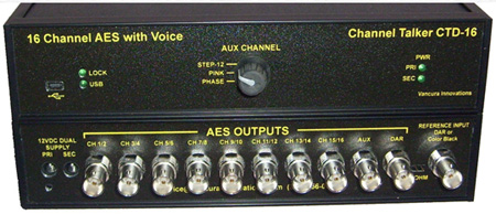 Channel Talker CTD16-C 16 AES Channel Audio Tone Generator with Voice Over ID Full Feature
