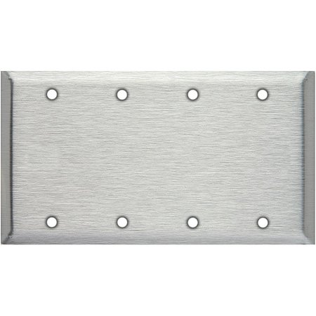 Blank 4-Gang Clear Anodized Aluminum Wallplate-Panel Authority
