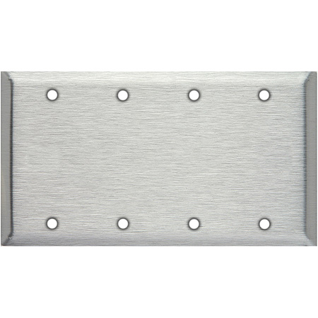 Blank 4-Gang Stainless Steel Wallplate