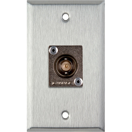 1 Gang Clear Anodized Wallplate w/1 Canare BCJ-JRU BNC Feed-Thru