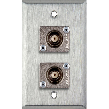 1G Clear Anodized Wallplate w/2 Canare BCJ-JRU BNC Feed-Thrus