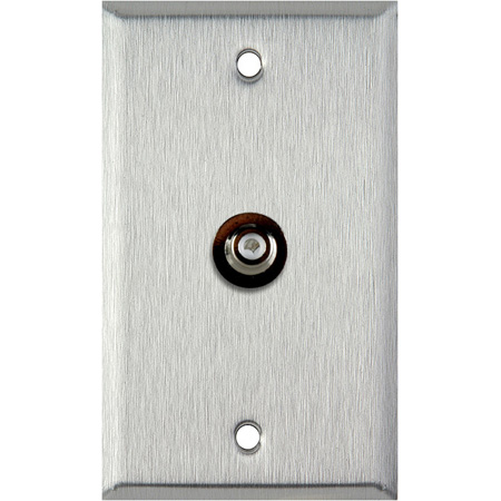 1-Gang Black Anodized Aluminum Wall Plate With 1 RCA Feed-Thru Barrel