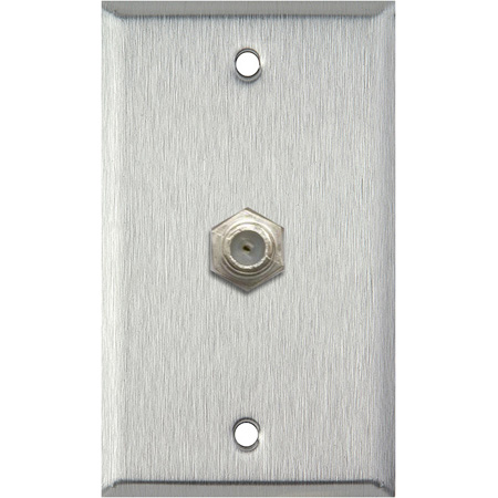 1G Clear Anodized Aluminum Wall Plate w/1 Coax F Connector Feed-Thru