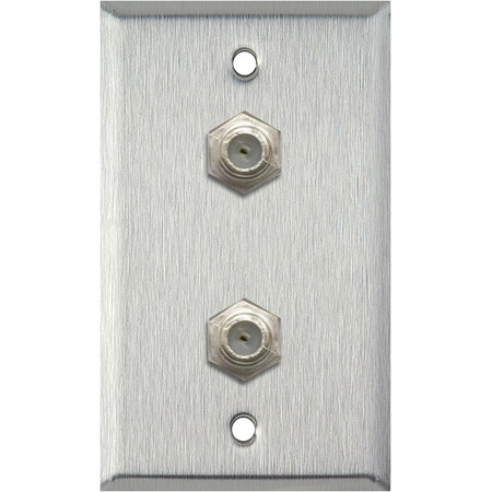 1G Brass Wall Plate with 2 Coax F Connector Feed-Thru Barrels