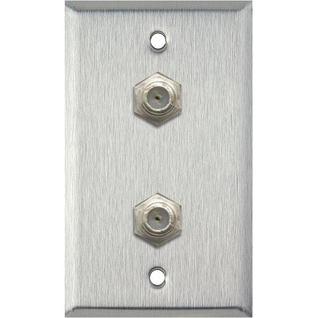 1G Brown Lexan Wall Plate with 2 Coax F Connector Feed-Thru Barrels