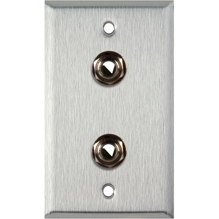 1G Brass Wall Plate with 2 1/4-Inch TRS Phone Jacks