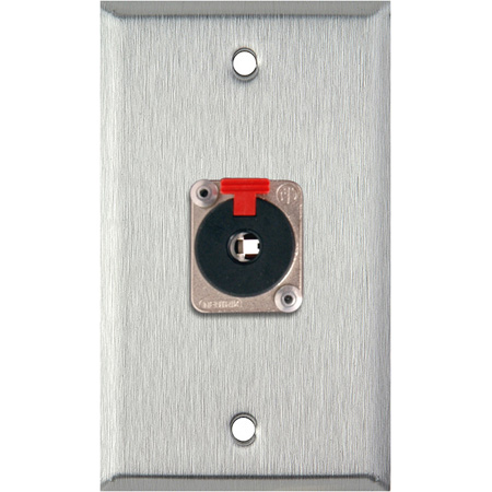1G Black Anodized Wallplate w/1 NJ3FP6C 1/4-In. TRS Latching Jack