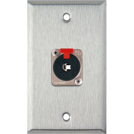 1G White Lexan Wall Plate with 1 NJ3FP6C 1/4-Inch TRS Latching Jack