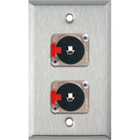 1G Ivory Lexan Wall Plate with 2 Neutrik NJ3FP6C 1/4-Inch TRS Latching Jacks