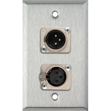 Neutrik Single 3-Pin XLR-M & Single XLR-F 1G Brown Lexan Wall Plate