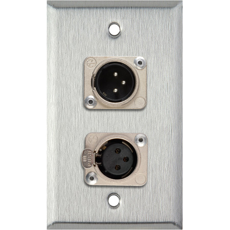 Neutrik Single 3-Pin XLR Male & Single XLR Female 1G Brass Wall Plate