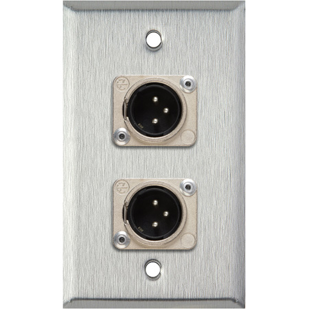 1G Black Anodized Wallplate w/2 Neutrik 3-Pin XLR-M Connectors
