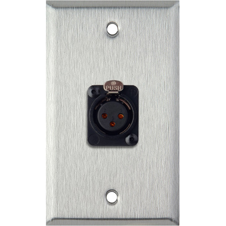 1-Gang Gray Lexan Wall Plate w/Neutrik 3-Pin XLR Female-Terminal Block