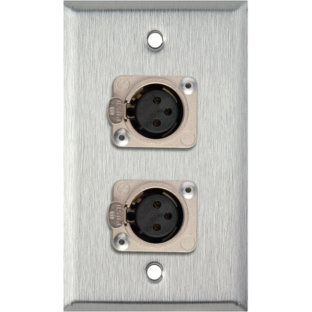 1G Black Anodized Wallplate w/2 Neutrik 3-Pin XLR-F Connectors