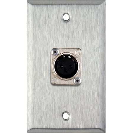 1G Clear Anodized Aluminum Wall Plate with Latchless 3-Pin Female XLR