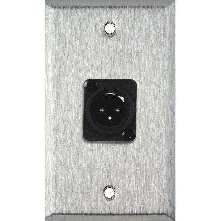 1G Black Anodized Aluminum Wall Plate with Plastic 3-Pin Male XLR