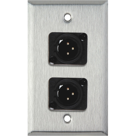 1G Clear Anodized Aluminum Wall Plate with 2 Plastic 3-Pin Male XLRs