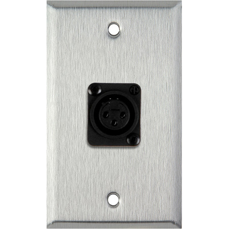 1G Black Anodized Wallplate w/Plastic Latchless 3-Pin XLR Female