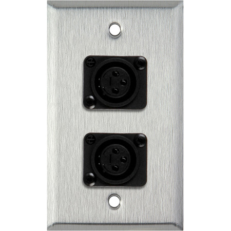 1G Black Anodized Wallplate w/2 Plastic Latchless 3-Pin Female XLR