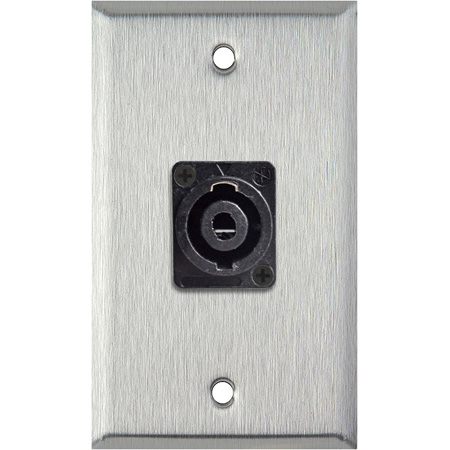 1G Grey Lexan Wall Plate with One 4-Pole Speakon Male Connector