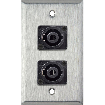 1G White Lexan Wall Plate with Two 4-Pole Speakon Male Connectors