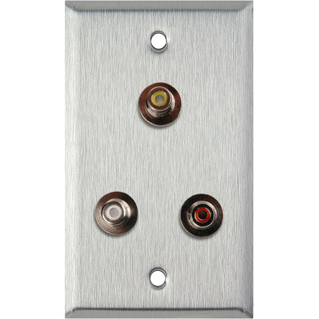 1G Black Anodized Aluminum Wall Plate with 3 RCA Feed-Thru Barrels