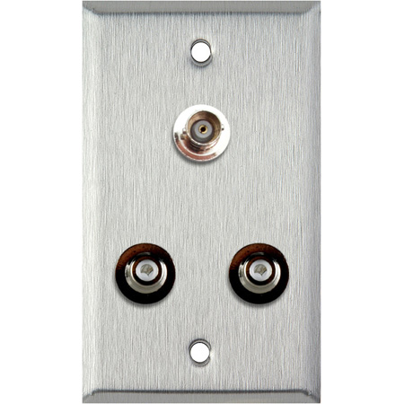 1G Brass Wall Plate with 2 RCA Barrels and 1 BNC Barrel