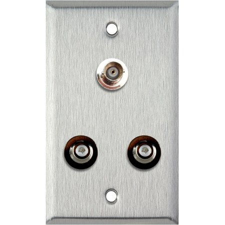 1G Ivory Lexan Wall Plate with 2 RCA Barrels and 1 BNC Barrel