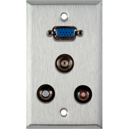 1G Brass Wall Plate with 1 HD15 VGA / 2 RCA Barrels and 1 BNC Barrel