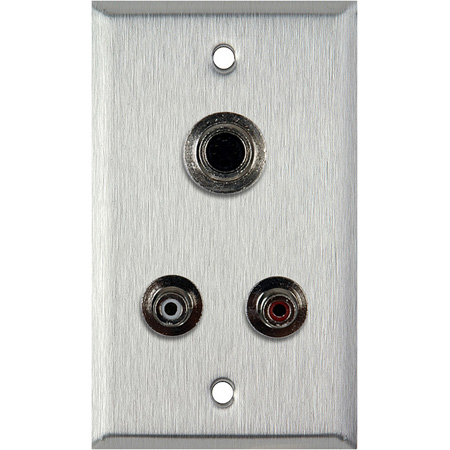 1G Brass Wall Plate with 2 RCA Barrels and 1 S-Video Barrel