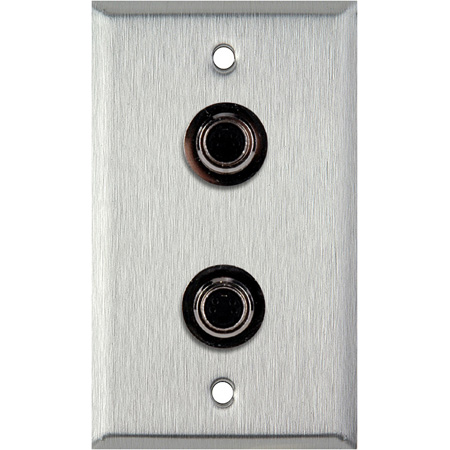 1-Gang Clear Anodized Aluminum Wall Plate with 2 S-Video 4-Pin Barrels