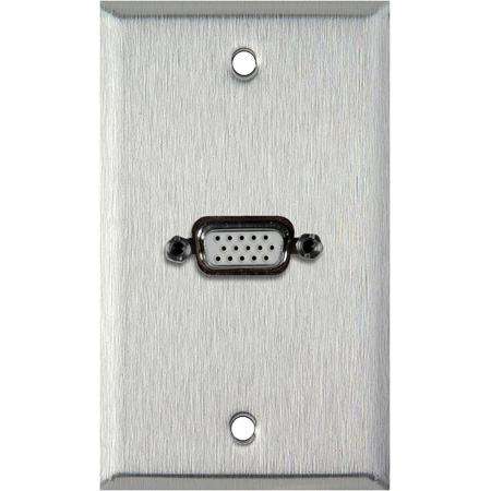 1G Clear Anodized Wallplate w/1-HD 15-Pin Female Rear Solder Points