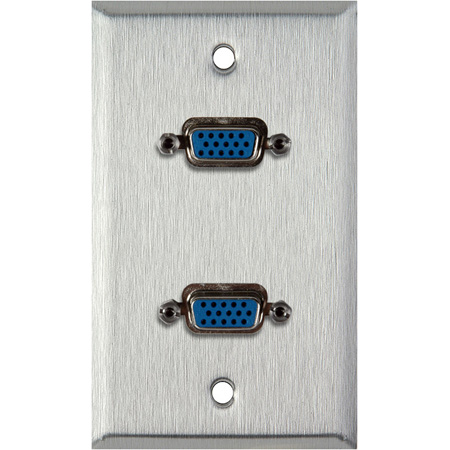 1G Gray Lexan Plate with 2 HD 15-Pin Female Rear Solder Connectors