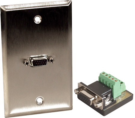 1G Gray Lexan Wall Plate with One HD15-Pin Female Terminal block